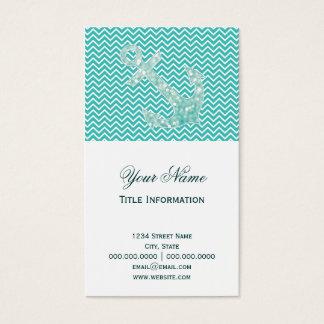 Turquoise Chevron and Aqua Bokeh Anchor Business Card