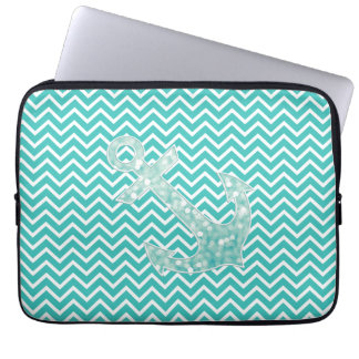 Turquoise Chevron and Aqua Bokeh Anchor Computer Sleeve