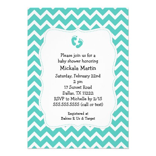 turquoise chevron baby shower invitation with feet 5 quot x 7