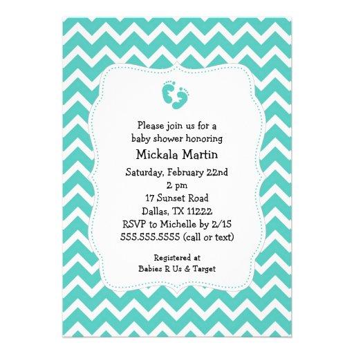 turquoise chevron baby shower invitation with feet 5 x 7 invitati