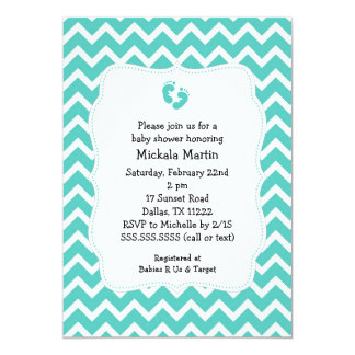 Turquoise Chevron Baby Shower Invitation with feet