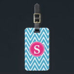 """Turquoise Chevron Custom Monogram Luggage Tag<br><div class=""""desc"""">Travel in style with our monogram turquoise chevron print luggage tag. A cool and fun way to decorate and identify your luggage. Show your personality with this fun and trendy luggage tag. Makes a great gift for all occasions. Customize with your personal or business information. Click the &quot;Customize it!&quot; button...</div>"""