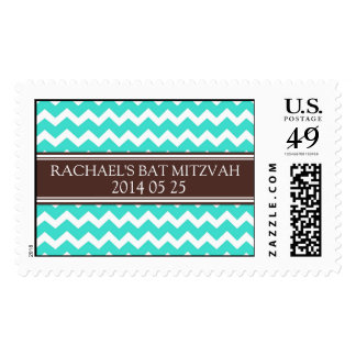 Turquoise Chevron Custom Name Bat Mitzvah Stamps