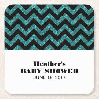 Turquoise Chevron Glitter Baby Shower Coasters Square Paper Coaster