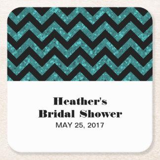 Turquoise Chevron Glitter Bridal Shower Coasters Square Paper Coaster