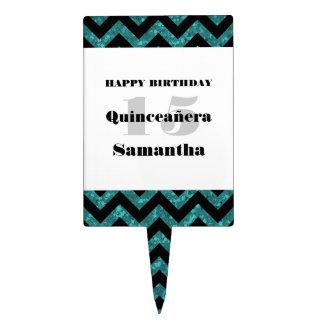 Turquoise Chevron Glitter Quinceañera Cake Pick