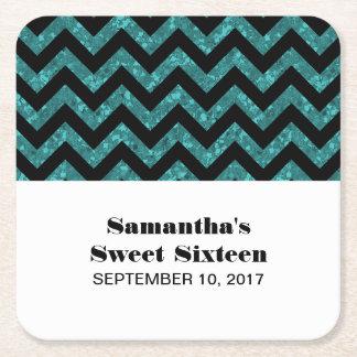 Turquoise Chevron Glitter Sweet 16 Paper Coasters Square Paper Coaster