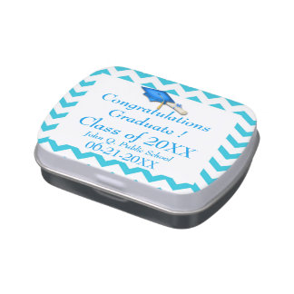 Turquoise Chevron Graduation Candy Tins Party Favo