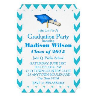 Turquoise Chevron Graduation Invitations