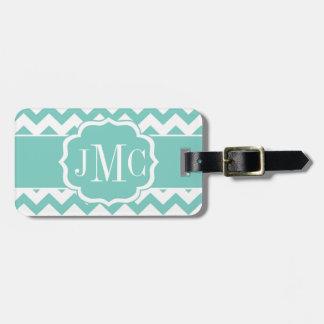 Turquoise Chevron Monogram Luggage Tag