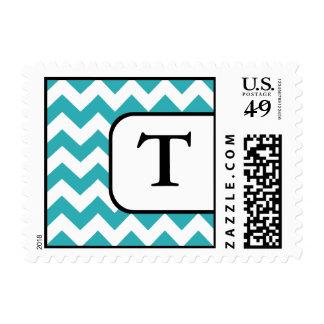 Turquoise Chevron Monogram Postage Stamps