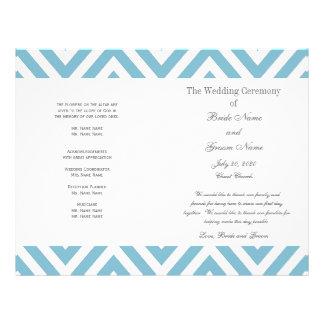 Turquoise Chevron Pattern Modern Wedding Program