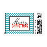 Turquoise Chevron & Red Merry Christmas Postage