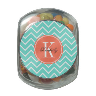 Turquoise Chevron with Orange Monogram Jelly Belly Candy Jar