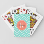 "Turquoise Chevron with Orange Monogram Playing Cards<br><div class=""desc"">Design by Pastel Crown.</div>"