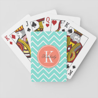 Turquoise Chevron With Orange Monogram Playing Cards at Zazzle