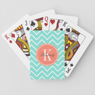 Turquoise Chevron with Orange Monogram Playing Cards