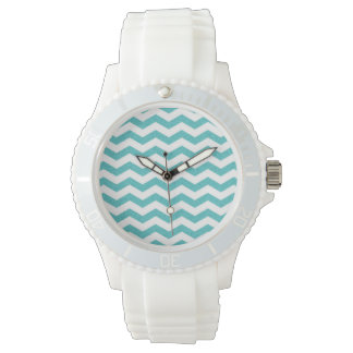 Turquoise chevron zig zag nautical zigzag pattern watches