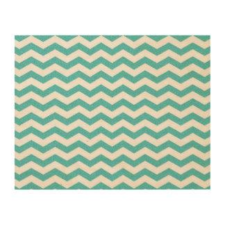 Turquoise chevron zig zag nautical zigzag pattern wood print
