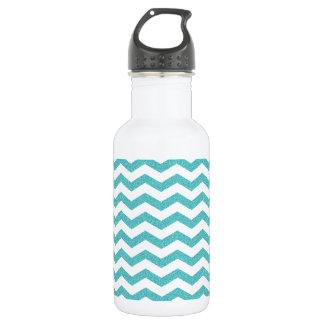 Turquoise chevron zig zag textured zigzag pattern water bottle