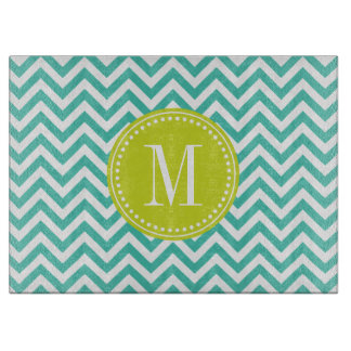 Turquoise Chevron Zigzag Personalized Monogram Cutting Board