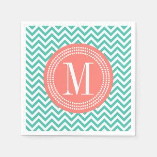 Turquoise Chevron Zigzag Personalized Monogram Disposable Napkins