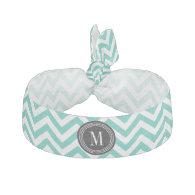 Turquoise Chevron Zigzag Personalized Monogram Hair Tie