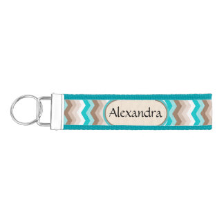 Turquoise Chevron Zigzag Personalized Name Key Fob