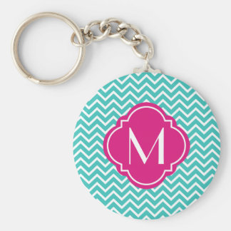 Turquoise Chevron Zigzag Stripes with Monogram Keychain