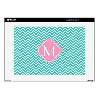 Turquoise Chevron Zigzag Stripes with Monogram Laptop Skin