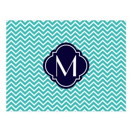 Turquoise Chevron Zigzag Stripes with Monogram Postcard