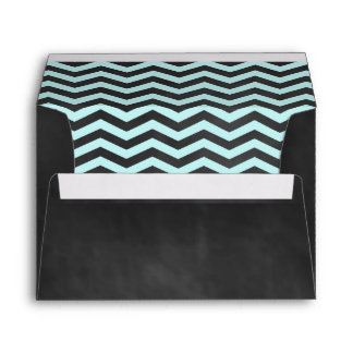 Turquoise Chevrons on Chalkboard Envelope