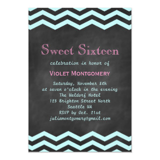 Turquoise Chevrons on Chalkboard Sweet 16 Invite
