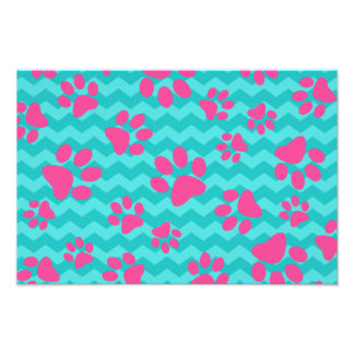 Turquoise chevrons pink dog paws photo print
