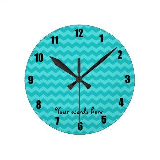 turquoise chevrons round clock
