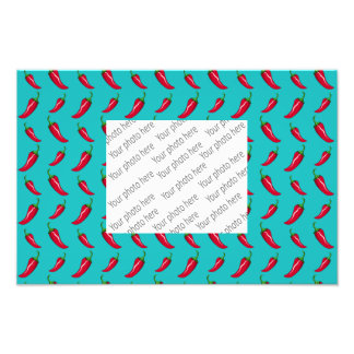 turquoise chili peppers pattern photographic print