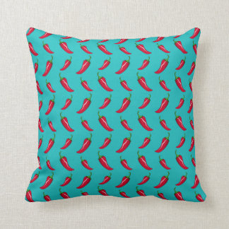 turquoise chili peppers pattern pillow