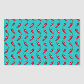 turquoise chili peppers pattern rectangular stickers