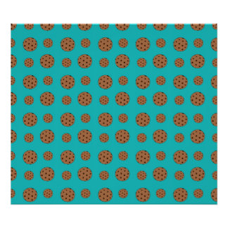 Turquoise chocolate chip cookies pattern poster