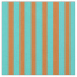 [ Thumbnail: Turquoise & Chocolate Striped/Lined Pattern Fabric ]
