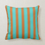[ Thumbnail: Turquoise & Chocolate Striped/Lined Pattern Pillow ]