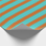 [ Thumbnail: Turquoise & Chocolate Striped/Lined Pattern Wrapping Paper ]