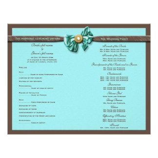 Turquoise chocolate wedding program bow