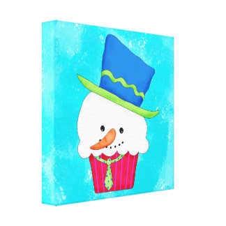Turquoise Christmas Whimsy Snowman Cupcake Art Canvas Print