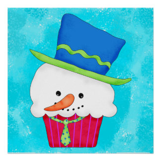 Turquoise Christmas Whimsy Snowman Cupcake Art Poster