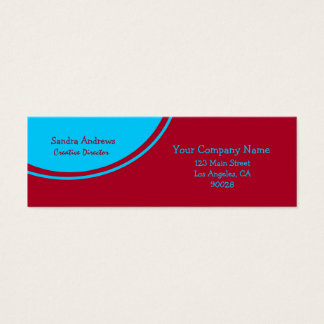 Turquoise Circle Bright Red Mini Business Card