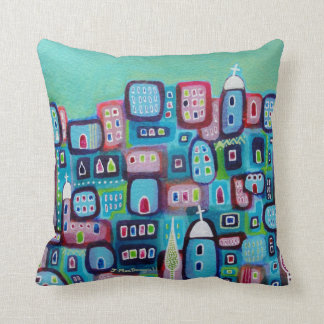 Turquoise City Throw Pillow