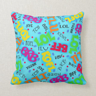 Turquoise Colorful Electronic Texting Art Abbrevia Pillows