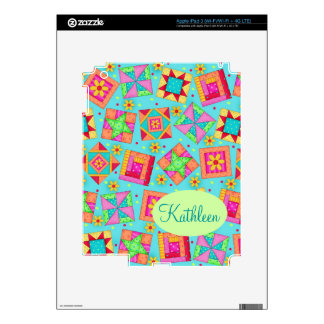 Turquoise Colorful Patchwork Quilt Block Custom iPad 3 Decal