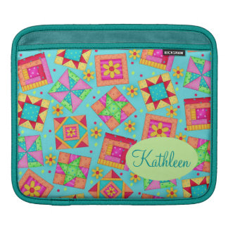 Turquoise Colorful Patchwork Quilt Block Custom iPad Sleeve